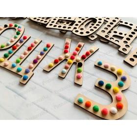 Буквы с помпонами для логопедов (19 шт)